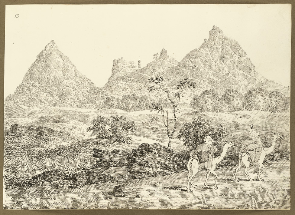 Rocky hills at Raghunathpur (West Bengal); two camels in the foreground. 4 February 1823